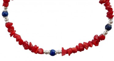 Bracelet in coral shine and Lapis Lazuli pearls - Silver clasp