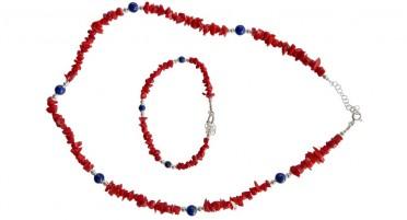 Parure bijoux en Corail de Bonifacio, perles de Lapis Lazuli et Argent