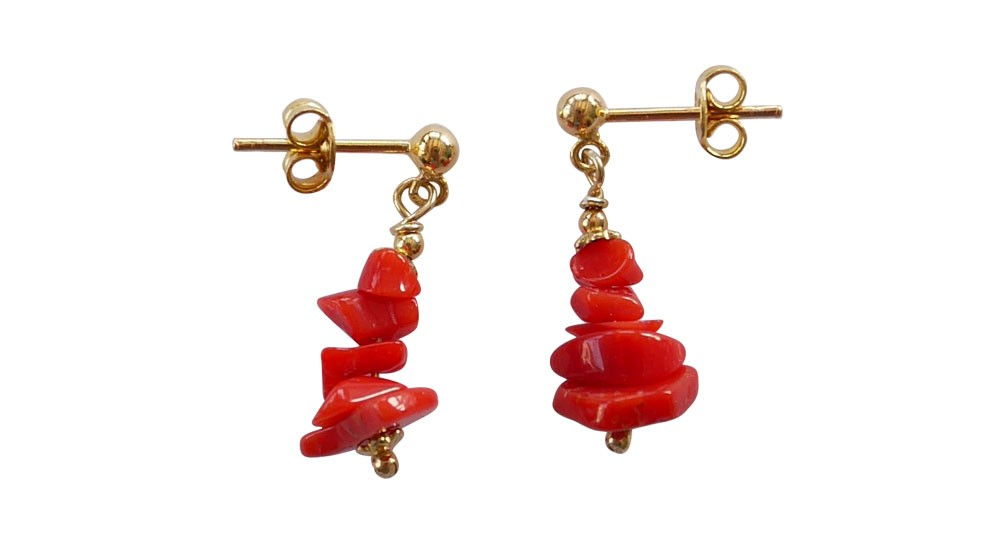 Red coral and gold plated dangling earrings