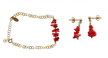 Jewelry set in 1/2 Coral and Gold Plated tips - bracelet and earrings
