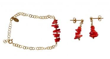Parure de bijoux en 1/2 pointes de Corail et Plaqué Or - bracelet et boucles d'oreilles