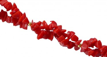 Collier en Corail rouge de Bonifacio et petites perles en Plaqué Or