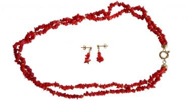 Parure de bijoux en Corail et Plaqué Or - Collier 2 rangs et boucles d'oreilles