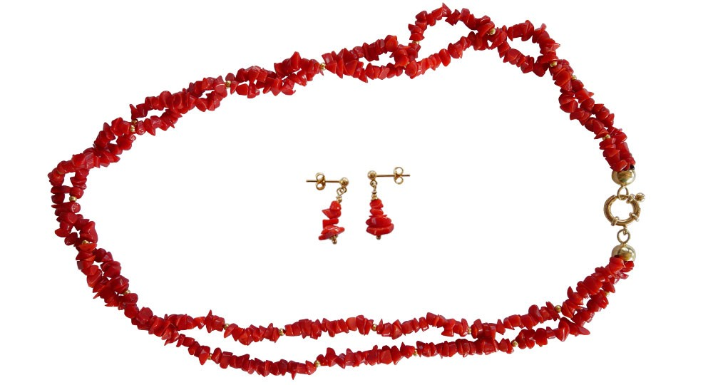 jewelry set in Coral and Gold Plated - 2-row necklace and earrings