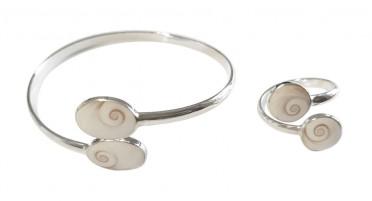 Parure de bijoux Argent : bracelet et bague réglables avec 2 yeux de Sainte Lucie ronds
