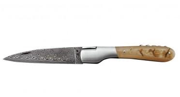 Couteau Vendetta Zuria avec tire-bouchon - lame Damas et manche en Corne de Bélier
