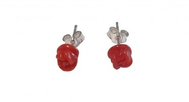 Coral earrings in pink shape - Silver clasp