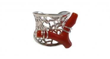 Openwork silver ring with coral branch