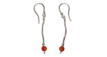 Boucles d'oreille pendantes en Argent avec perle de Corail rouge