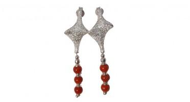 Boucles d'oreille pendantes en Argent avec strass et 3 perles de Corail rouge