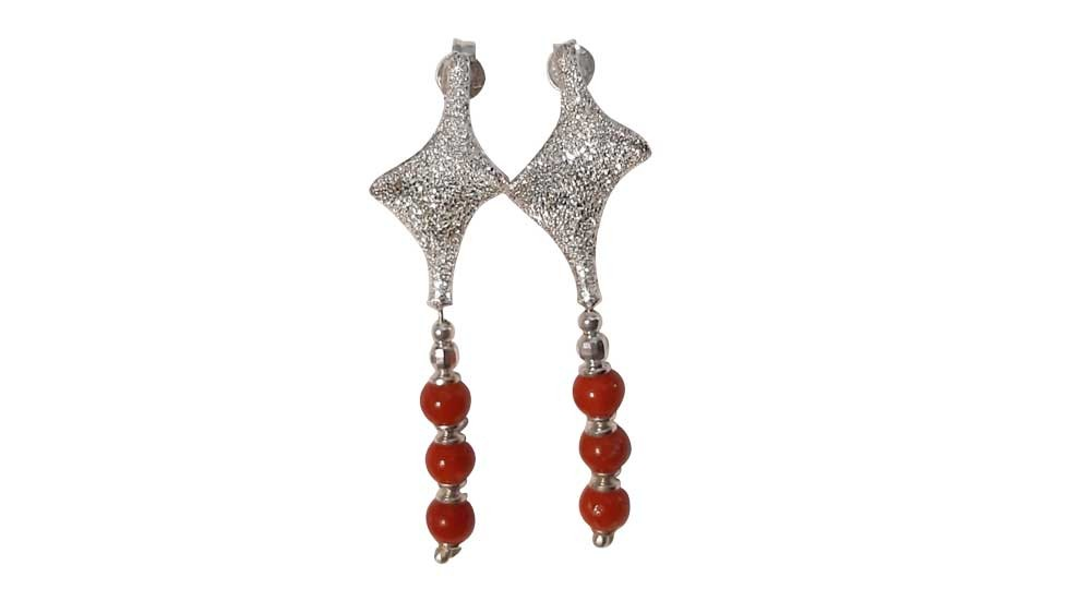 Dangling silver earrings with rhinestones and 3 red Coral pearls