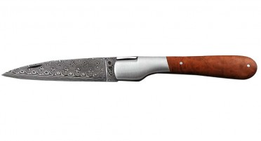 Vendetta Zuria knife in heather root and Damascus blade