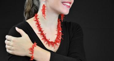 Parure bijoux en franges de Corail - 3 pièces